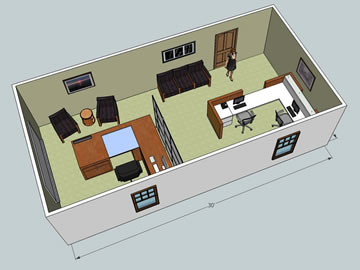 3d office layout with furniture