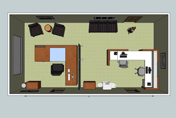 3d office layout with furniture overhead