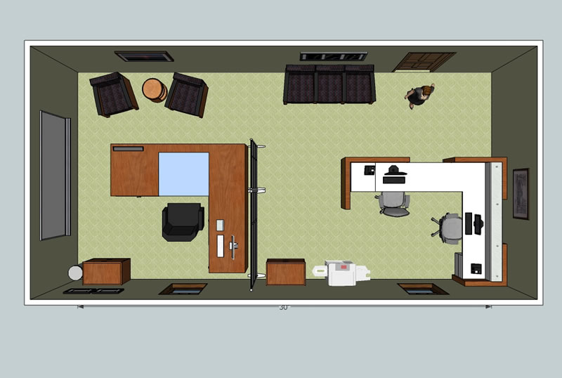 3d office design service wny office space for Office desk layout planner