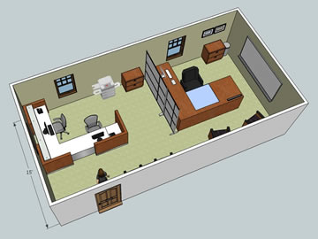 Office layout with furniture