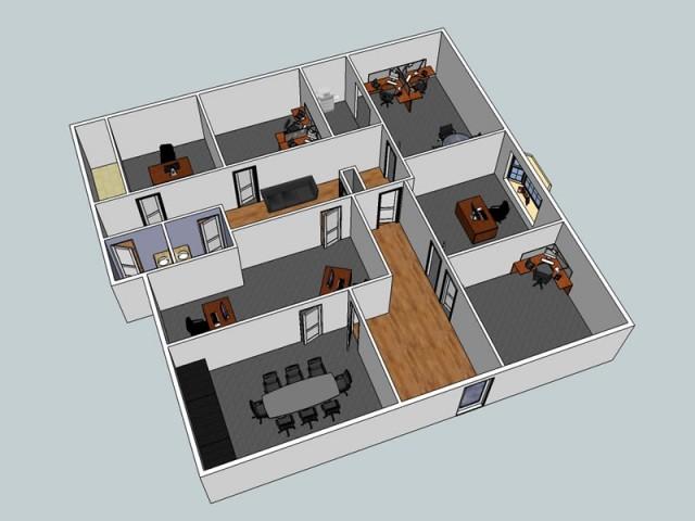 office complex floor plan in 3d